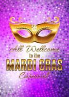 Mardi Gras Party Mask Holiday Poster Background. Vector Illustration