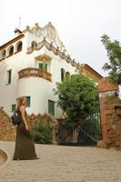 young woman, traveling to Barcelona, Guell park, Spanish vacation photo