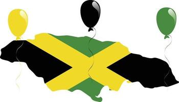 Jamaican Green, Black and Yellow Flag and Map vector