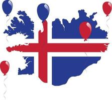 Blue, White and Red Map and Flag of Iceland vector