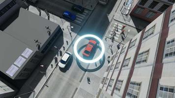 drone aéreo disparou em carros autônomos de piloto automático 4k video
