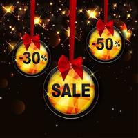 Christmas and New Year Sale Background, Discount Coupon Template vector