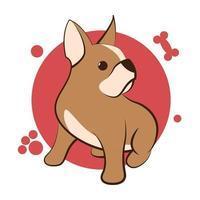 Dibujos animados de ilustración vectorial de color sobre un fondo blanco de un lindo bulldog francés. vector