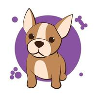 Color vector illustration cartoon on a white background of a cute French Bulldog.