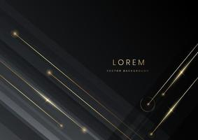 Abstract gray black color diagonal background decoration golden lines with copy space for text. Luxury style. vector