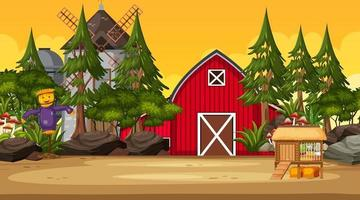 Empty farm at sunset time scene with red barn and windmill vector