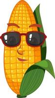 Cute corn cartoon character with face expression on white background vector