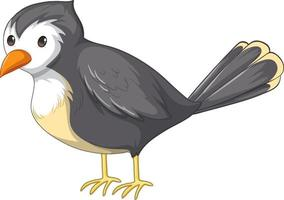A grey bird in standing pose in cartoon style isolated vector