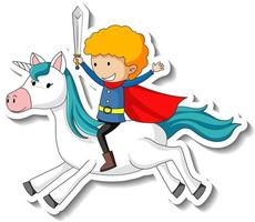 Cute stickers with a knight riding a unicorn cartoon character vector