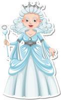 Beautiful snow queen cartoon character sticker vector
