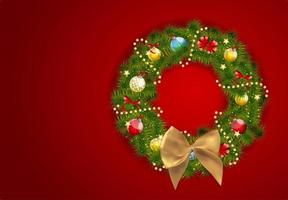 Abstract Beauty Christmas and New Year Background with Wreath. Vector Illustration