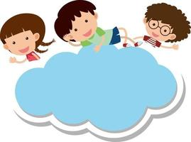 Empty cloud shape banner with many kids cartoon character vector