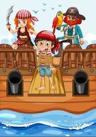 escena con un niño pobre caminando por la tabla del barco. vector