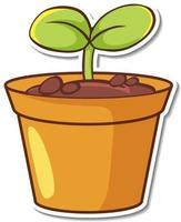 Sticker design with seedling plant in a pot isolated vector