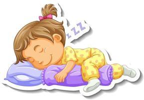 Plantilla de pegatina con un personaje de dibujos animados de niña durmiendo aislado vector