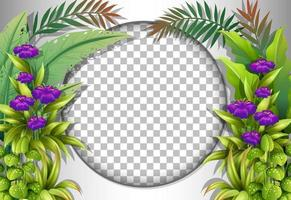 Round frame with tropical flowers and leaves template vector