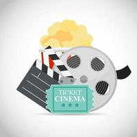 Abstract Cinema Flat Background with Reel, Old Style Ticket, Big Pop Corn and Clapper Symbol Icons vector