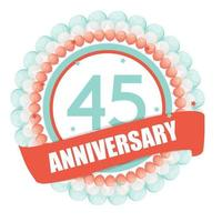 Cute Template 45 Years Anniversary with Balloons and Ribbon Vector Illustration