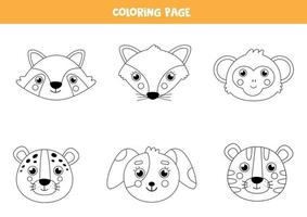 Color cute animal faces. Coloring page for children. vector