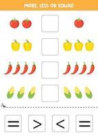 compare la cantidad de verduras. más, menos o igual. vector