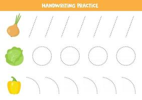 Tracing lines for kids. Vector onion, cabbage, pepper.