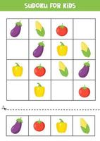 Sudoku game with eggplant, corn, tomato and pepper. vector