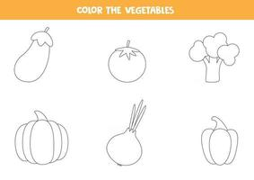 Coloring pages with vegetables for preschool kids, vector