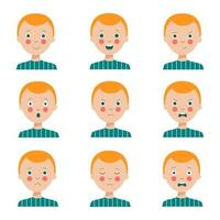 Set of various facial expressions of cute cartoon red haired boy. vector