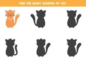 Find the right shadow of cute cartoon cat. vector