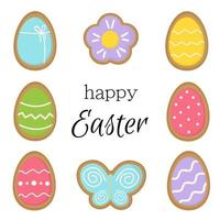 Happy Easter greeting card with tasty ginger bread cookies. vector