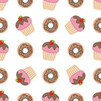 Seamless pattern with pink sweet donuts and muffins. vector