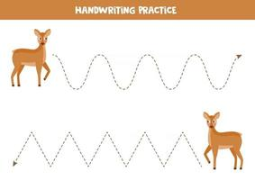 Trace the lines. Cute cartoon roe deer. Game for children. vector