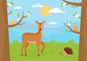 Forest landscape in summer. Cartoon roe deer, hedgehog and birds. vector