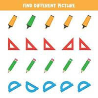 Find object which is different from others. Stationery for office. vector