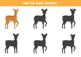 Find the right shadow of roe deer. Logical game for kids. vector