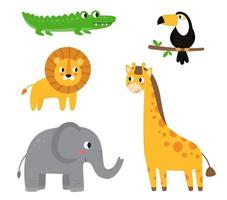 Collection of cute cartoon African animals on white background. vector
