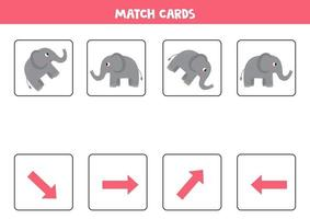 Matching game for kids. Match orientation and gray elephant. vector