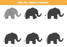 Find the right shadow of cartoon elephant. Printable worksheet. vector