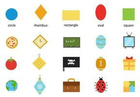 Learning basic geometric forms for children. Basic shapes. vector