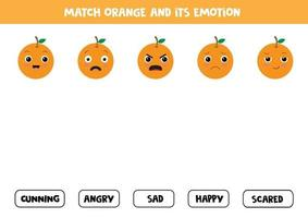 Find the right emotions of cartoon orange. Game for children. vector