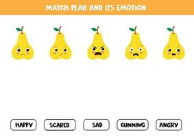 Match cute cartoon pear and its emotion. Educational game for kids. vector