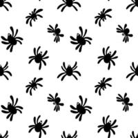Seamless pattern of a black spider silhouette on a white background. Cute spider pattern. Design for printing, paper, packaging. Template Of Halloween. Vector stock illustration