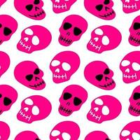 The pattern of the skull. Purple skulls on a white background.Vector illustration. Bright and fashionable design for Halloween, Day of the dead, tattoos, prints, poster vector