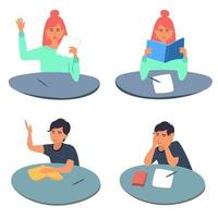 Collection of teenage boys and girls sitting at their desks. Students read books, prepare for exams, write school tests. Recruitment of school children and students.Vector illustration in flat style vector