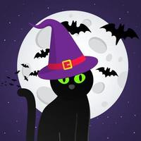 Happy Halloween text postcard banner with witch cat, hat, bats, big moon vector