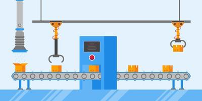 Smart industry 4.0 and technology assembly line flat style design vector illustration concept. Production conveyor belt with factory production line with robot arms, cardboard boxes and automated line