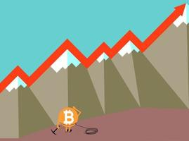 The raising of Bitcoin vector illustration