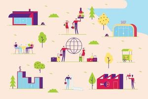 minimal Couple man and woman walk in various places to go. Shopping, leisure, cafe, taxes, travel, business and other. With buildings and trees minimal abstract flat style vector illustration in the park.