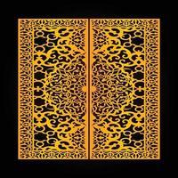 Laser cut gate panels, Modern gate design template, Creative CNC cutting pattern, Golden color pattern and black color background vector