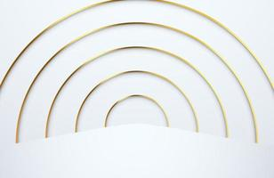 Modern minimal and clean white paper cut background with realistic gold line tunnel vector